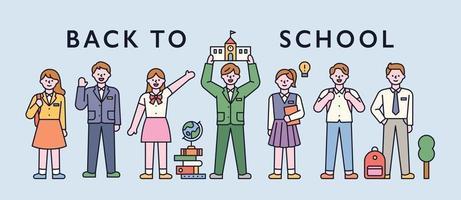 alunos em uniformes escolares, em uma fileira e cumprimentando. ilustração em vetor mínimo estilo design plano.