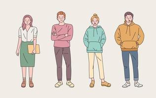 conjunto de personagens jovens com estilo casual vetor