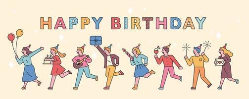 banner de pessoas de festa de aniversário vetor