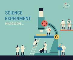 experimento científico com grande microscópio e cientistas vetor