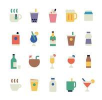 coleção de ícones de bebidas vetor