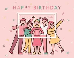 cartão de feliz aniversário com pessoas festejando vetor