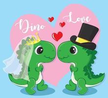casal bonito dos desenhos animados de dinossauros apaixonados. feliz dia dos namorados ilustração em vetor doodle cartoon