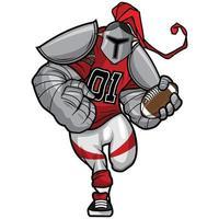 cavaleiro de prata - design de personagens do mascote do futebol americano vetor