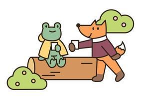 uma rã e uma raposa estão descansando em um tronco. ilustração em vetor mínimo estilo design plano.