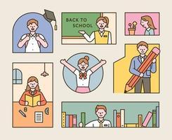 uma coleção de alunos vestindo uniformes escolares. uma composição em que as crianças estão estudando em vários tipos de quadros vetor