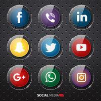 Ícones de mídia Social de plástico brilhante vetor