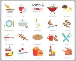 alimentos e bebidas ícone definido para site, documento, design de cartaz, impressão, aplicativo. comida e bebida conceito ícone estilo simples.