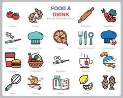 comida e bebida ícone definido para site, documento, design de cartaz, impressão, aplicativo. comida e bebida conceito ícone preenchido estilo de contorno. vetor