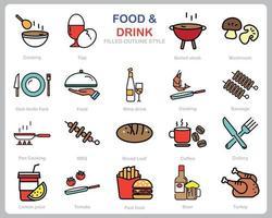 comida e bebida ícone definido para site, documento, design de cartaz, impressão, aplicativo. comida e bebida conceito ícone preenchido estilo de contorno.