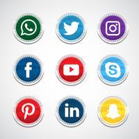 Coleção Circular de Mídia Social vetor