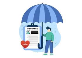 ilustração em vetor conceito seguro médico. cuidados de saúde e serviço médico. documento médico. pode usar para página inicial, aplicativos móveis, banner da web. estilo simples da ilustração dos desenhos animados do personagem.