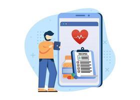 ilustração em vetor conceito farmácia digital. farmácia online, serviço online de farmácia de cuidados de saúde. pode usar para página inicial, aplicativos móveis, banner da web. estilo simples da ilustração dos desenhos animados do personagem.