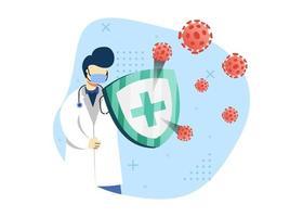 ilustração em vetor conceito prevenção de vírus. médico luta contra vírus com escudo médico. pode usar para a página inicial, aplicativos móveis. estilo simples da ilustração dos desenhos animados do personagem.