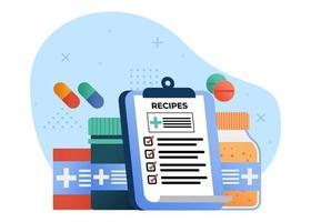 medicina e ilustração em vetor conceito de saúde. prescrição de medicamentos e medicamentos. pode usar para página inicial, aplicativos móveis, banner da web. estilo simples da ilustração dos desenhos animados do personagem.