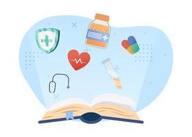 ilustração em vetor conceito educação médica. livro aberto com um ícone médico. Educação médica. pode usar para a página inicial, aplicativos móveis, banners da web. estilo simples da ilustração dos desenhos animados do personagem.