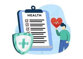 ilustração em vetor conceito seguro médico. um homem preenchendo formulário de documento médico. pode usar para web, homepage, aplicativos móveis, web banner. estilo simples da ilustração dos desenhos animados do personagem.