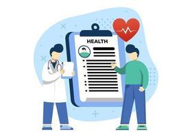 medicina e ilustração em vetor conceito de saúde. exame de saúde, consulta ao paciente, pode usar para web, página inicial, aplicativos móveis, banner da web. estilo simples da ilustração dos desenhos animados do personagem.