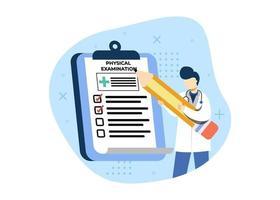 exame físico de ilustração vetorial de conceito médico e de saúde, check-up médico. pode usar para página inicial, aplicativos móveis, banner da web. estilo simples da ilustração dos desenhos animados do personagem. vetor