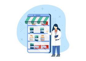 ilustração em vetor conceito farmácia digital. loja de farmácia, farmácia online. pode usar para página inicial, aplicativos móveis, banner da web. estilo simples da ilustração dos desenhos animados do personagem.