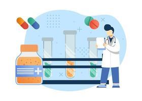 medicina e ilustração em vetor conceito de saúde. pesquisa médica para medicamentos e vacinas. pode usar para página inicial, aplicativos móveis, banner da web. estilo simples da ilustração dos desenhos animados do personagem.