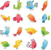 conjunto de pássaros super fofos vetor