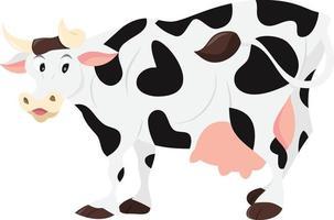 desenho animado da vaca leiteira vetor