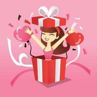 garota de desenho animado em caixa de presente surpresa vetor
