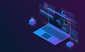 informações de análise isométrica do laptop. conceito futurista.