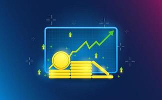 ícone de moeda de ações no fundo da grade. conceito futurista.