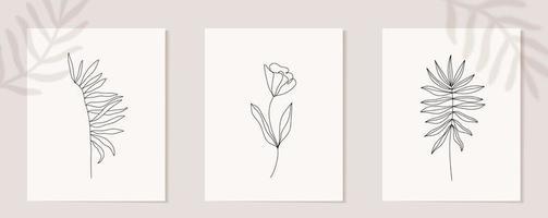conjunto de arte de linha contínua de flores. colagem contemporânea abstrata de formas geométricas em um estilo moderno e moderno. vetor para conceito de beleza, impressão de camiseta, cartão postal, pôster