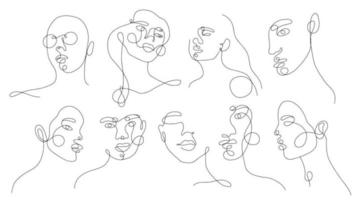 definir retratos de mulher lineares. silhueta linear contínua de rosto feminino. esboço mão desenhada de garotas de avatares. logotipo de glamour linear em estilo minimalista para salão de beleza, maquiador, estilista vetor