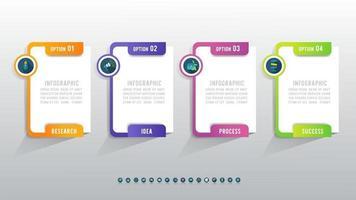 apresentação business 4 opções infográfico modelo com marketing icon design. vetor