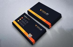 cartão de visita simples preto e laranja vetor