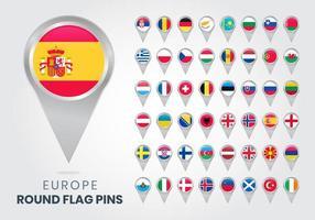alfinetes de bandeira redonda da europa, ponteiros de mapas vetor