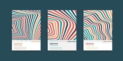 linhas onduladas listras cobrem design definido em cores vintage vetor