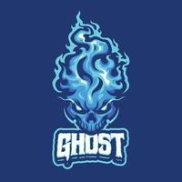 personagem mascote fantasma azul vetor