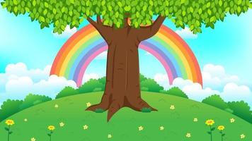 linda árvore na grama verde com fundo do arco-íris vetor