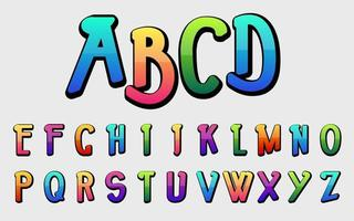 conjunto de letras coloridas de tipografia vetor