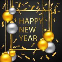 Feliz Ano Novo Ouro E Cores Pretas vetor