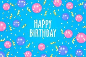 design de cartão de convite de feliz aniversário vetor
