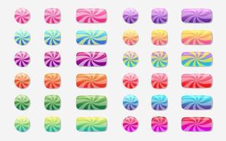 conjunto de botões coloridos de design de jogo vetor