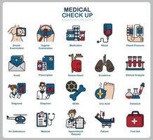 check-up médico ícone definido para site, documento, design de cartaz, impressão, aplicativo. ícone do conceito de saúde preenchido estilo de contorno.