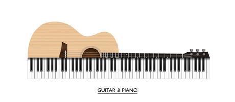 guitarra acústica e teclas de piano instrumento musical abstrato, ilustração vetorial vetor