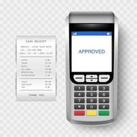 máquina de pagamento, terminal pos com recibo de dinheiro isolado, ilustração vetorial vetor