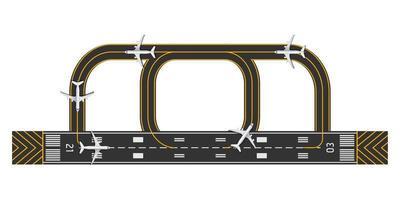vista superior da pista do aeroporto com avião, ilustração vetorial vetor