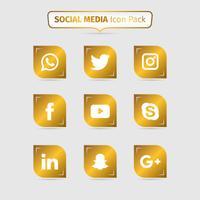 Coleção De Mídias Sociais Douradas vetor