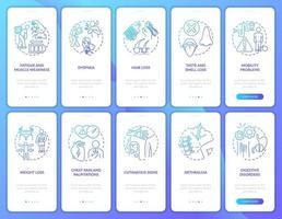 Síndrome pós-covid na tela da página do aplicativo móvel com conjunto de conceitos