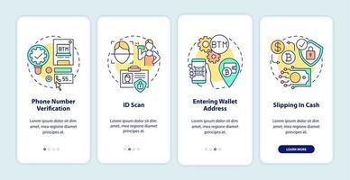 Etapas de verificação do bitcoin atm integrando a tela da página do aplicativo móvel com conceitos