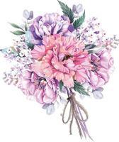 buquê de flores pintadas com aquarela 4 vetor
